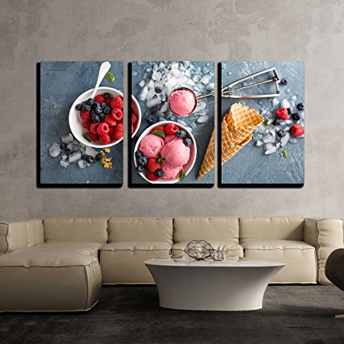 wall26 - 3 Piece Canvas Wall Art - Raspberry Ice Cream in White Bowl Overhead Shot - Modern Home Decor Stretched and Framed Ready to Hang - 16