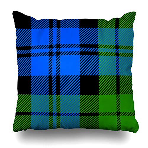 Ahawoso Throw Pillow Cover Abstract Black Military Tartan Plaid Flat Watch Brightly Checked Classical Design Gingham Zippered Pillowcase Square Size 20 x 20 Inches Home Decor Cushion Case