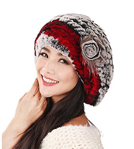 URSFUR Winter Women's Rex Rabbit Fur Beret Hats with Fur Flower (Grey & Red) by URSFUR (Image #2)