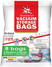 Vacuum Storage Bag - Pack of 8 (4 Medium + 4 Small) - Perfect Clothes Storage Bags | Reusable Space Savers with Free Hand Pump for Travel Packing
