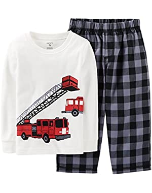 Carter's Baby Boys' 2 Piece Pant PJ Set (Baby) - Firetrucks
