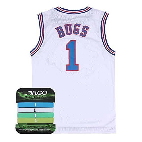 AFLGO Bugs Space Jam Jersey Basketball Jersey Include Set GLOW IN THE DARK Wristbands S-XXL White