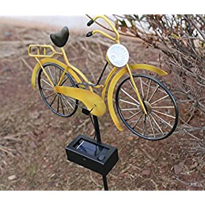 Outdoor Solar Garden Stake Lights - VINTAGE BICYCLE Garden Decor Landscape Lighting - Low Voltage Solar Powered LED Stakes for Unique Landscaping Accent Ideas For Yard Lawn Backyard Walkway Pathway