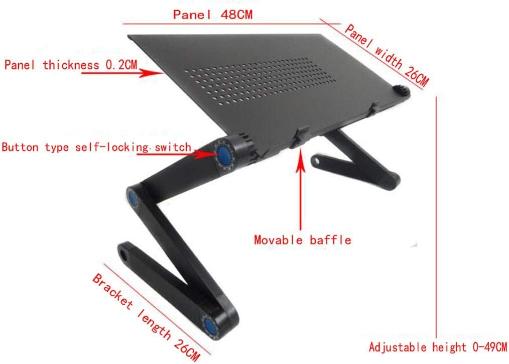 MSLYDYG Adjustable Folding Laptop Computer Desk Adjustable Height Lazy Portable Laptop Desk,Black Tablet Laptop Desk Breakfast Bed Tray