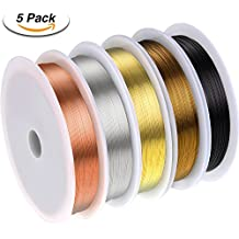 Shappy 5 Rolls 26 Gauge Copper Wire Tarnish Resistant Jewelry Beading Wire for Jewelry Making, 5 Assorted Colors, Totally 55 Yards