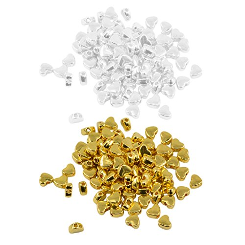ilver Gold Alloy Heart Shaped Large Hole Spacer Loose Beads for Jewelry Making Crafts DIY Necklaces Bracelets 5mm ()