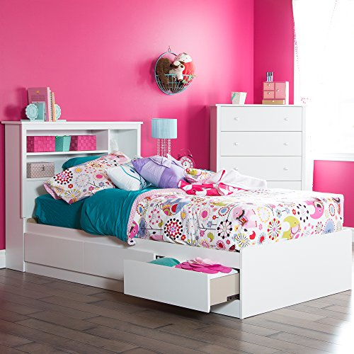 South Shore 39-Inch Vito Mates Bed with 3 Drawers, Twin, Pure White