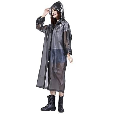 3b6ccfda3a04cd Regenponcho EVA Regenmantel Wasserdichte Regenjacke mit Kapuze Fahrrad  Regencape Transparent Raincoat Outdoor Regenbekleidung für Wandern und
