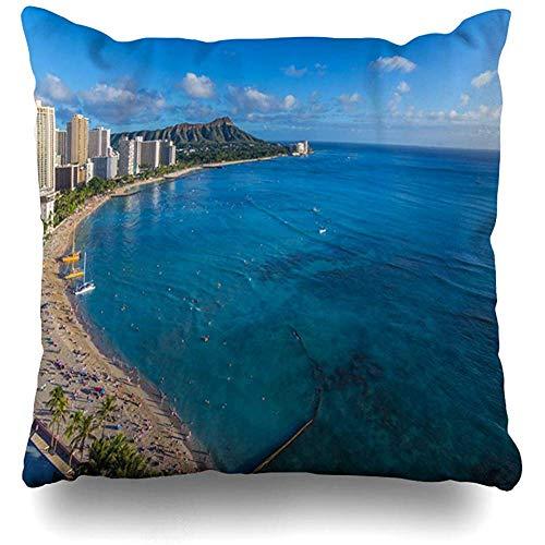 Throw Pillow Cover Square Cases 18x18 Oahu Blue Waikiki Beach Parks Cloud City Cityscape Diamond Design View Zippered Cushion Case Home Decor -