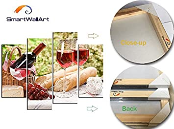 SmartWallArt – Wine Paintings Wall Art a Bottle of Wine in Cane Basket and Some Baguette 4 Pieces Picture Print on Canvas for Modern Home Decoration
