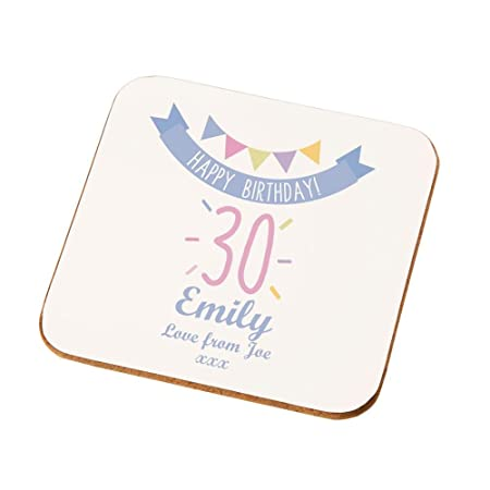Personalised 30th Birthday Coaster 30th Birthday Gifts For Her 30