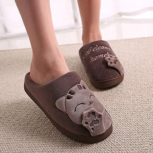 Pantofole Per Cotone Caldo Home Sunnywill Scarpe Donne Antiscivolo Pattini 1 Inverno caffè Men Peluche Morbido Casa Uomini 5nPqxFq