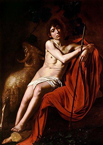 Michelangelo Merisi da Caravaggio: Saint John The Baptist in The Wilderness. Fine Art Print/Poster. Size A4 (29.7cm x 21cm) (John The Baptist John In The Wilderness Caravaggio)