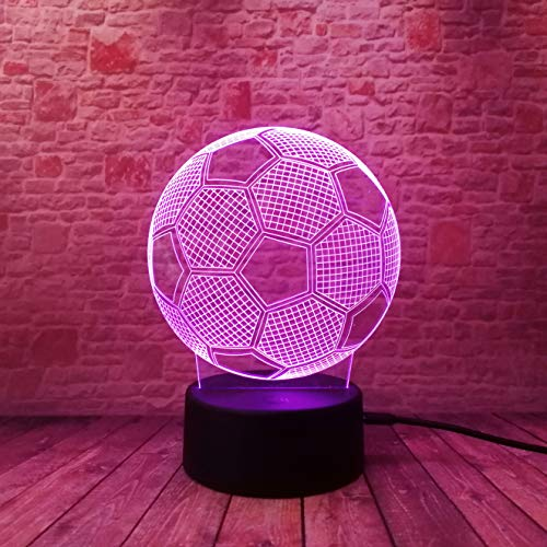 3D Optical Soccer Football Lamp - 7 LED Color Changing Touch Lamp-IR Remote Control - Soft Light Safe for Kids -Solution for Nightmares - Birthday Holiday Xmas Gifts - Sports Theme Fans Gifts