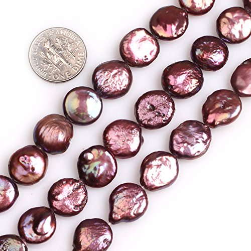 - GEM-inside Gemstone 13mm Drak Wine Coin Pearls Dyed Beads for Jewelry Making Loose Beads Strand 15