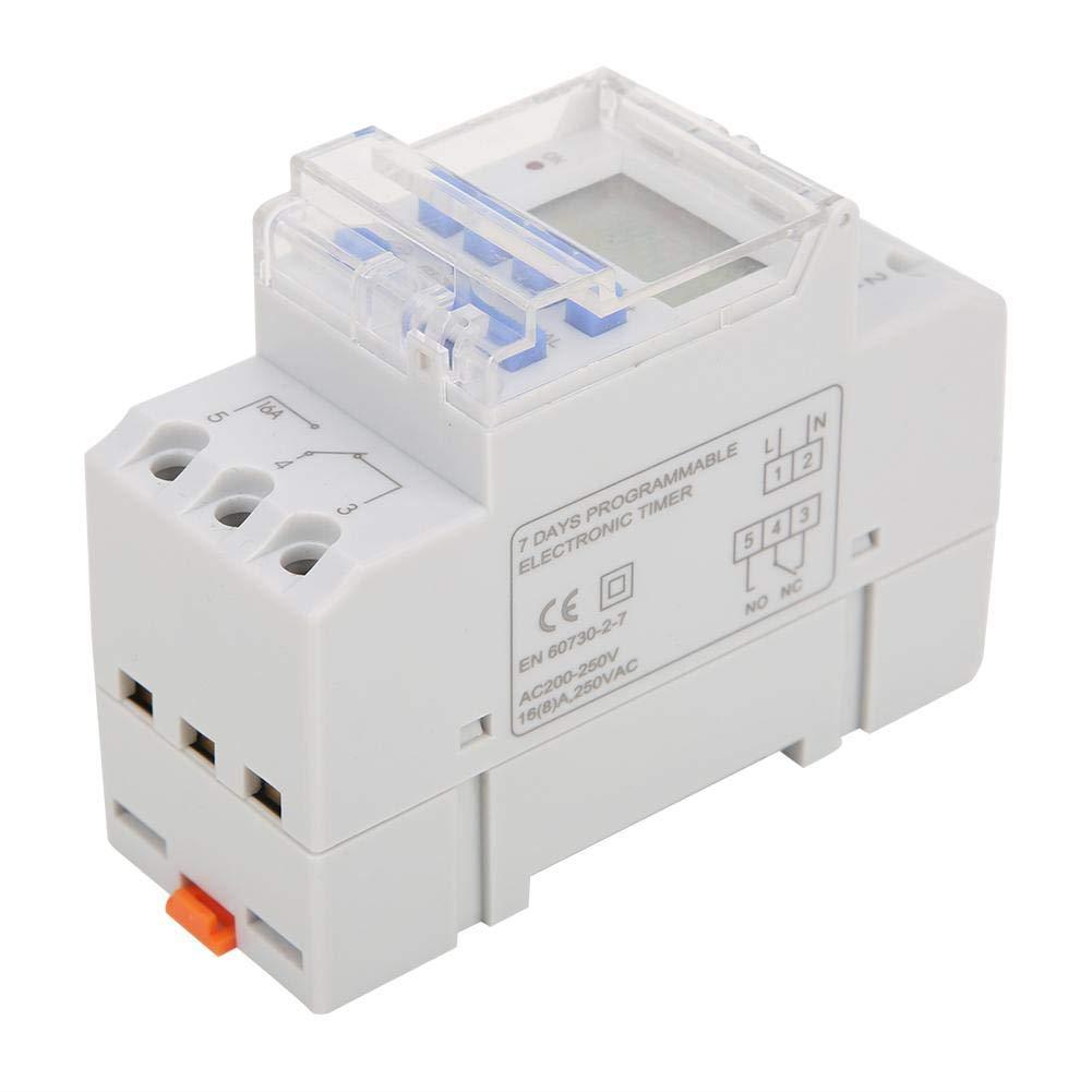 Timer Digitale con Batteria 220V ACLCD Power Settimanale Programmabile Rel/è Elettronico Tempo 16A Timer Digitale Programmabile 24 Ore// 7 Giorni DIN Rail
