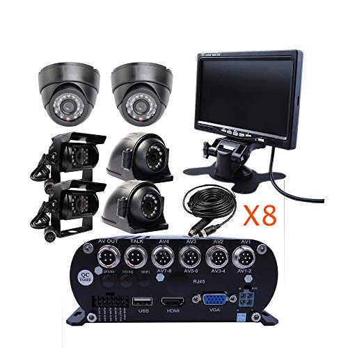 JOINLGO 8 Channel 1080N AHD HDD Mobile Vehicle Car DVR MDVR Video Recorder Kit with 6 Piece 1080P 2.0MP Dome Side Rear Back View IR Car Camera 7 inch VGA Car Monitor Video Playback on PC