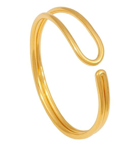 Verstellbar klassischer gold perle blatt doppel-finger ring