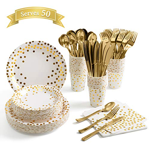 350 Piece Gold Party Supplies – Disposable Dinnerware Serves 50 Guest – Gold Dot Paper Plates Napkins Cups with Gold…