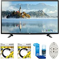 LG 49 1080p Full HD LED TV 2017 Model (49LJ5100) with 2x 6ft High Speed HDMI Cable Black, Universal Screen Cleaner for LED TVs & Transformer Tap USB w/ 6-Outlet Wall Adapter and 2 Ports