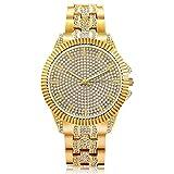 Watches For Men Gold Wristwatch Big Surface Bling Diamond Quartz Watch Luxury HIPHOP Fashion Watch