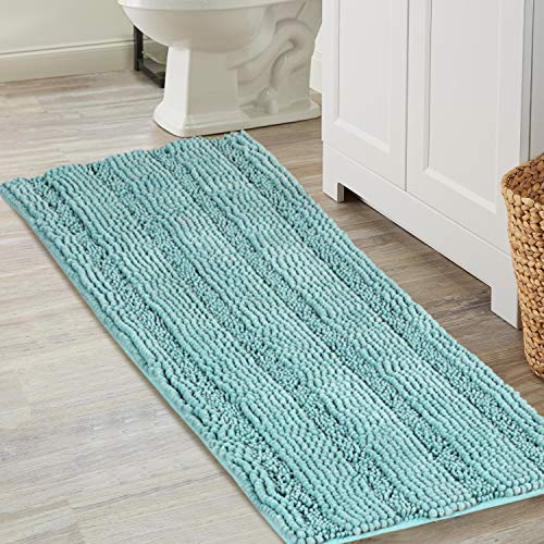 Non-Slip Bath Runners for Bathroom Rugs Chenille Area Rug for Kitchen Mat Rug Machine-Washable Bath mats Large Size 17×47 inch, Duck Eggshell Blue