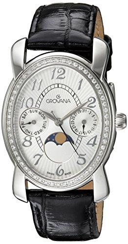 Grovana Unisex 4406-7532 Moonphase Analog Display Swiss Quartz Black Watch