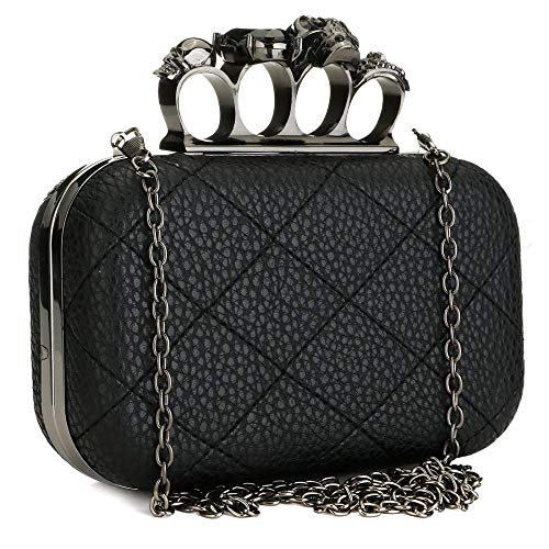 Womens Evening Bag Clutch Quilted Leather Skull Bone Crystal Handbag Shoulder Purses with Chain Strap