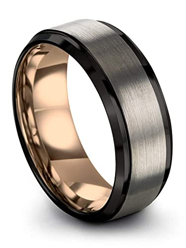dea5d57c361 Midnight Rose Collection Tungsten Wedding Band Ring 8mm for Men Women 18k  Rose Gold Plated Step