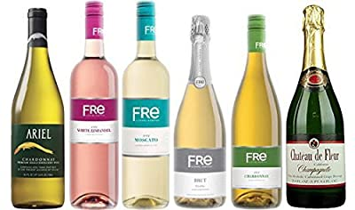 Non-alcoholic White Wine Variety Pack - Combo Includes 6 Bottles of White Wines