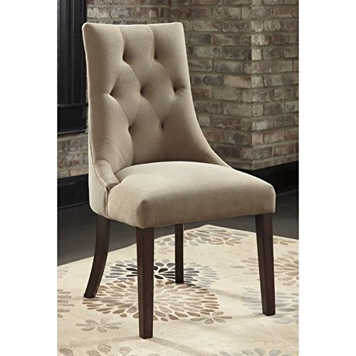 Ashley Furniture Signature Design - Mestler Dining Side Chair - Button-Tufted Seatback - Set of 2 - Light Brown (Upholstered Rustic Chairs)