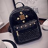 XENO-College Wind Schoolbag Washed PU Leather Backpack Women Rivet Mini Backpack(black)