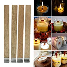 LING'S SHOP 50Pcs Wood Candle Wicks with Sustainer Tab Candle Making DIY Supply (8*90MM)