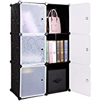 6-Cube DIY Storage Cube Organizer 3-Tier Storage Cube Cabinet Bookcase Shelves Organizer Closet with Door