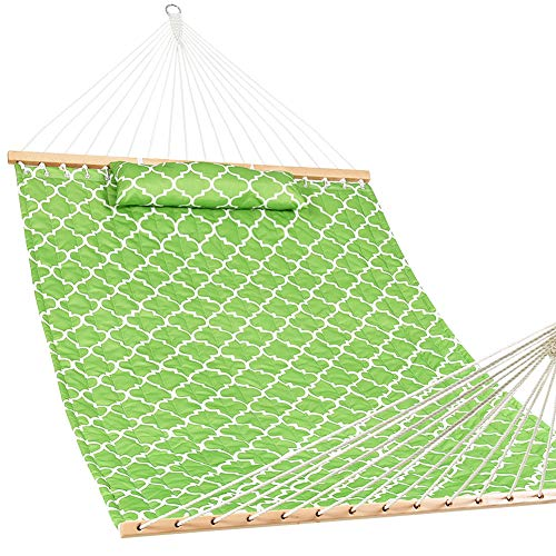 Lazy Daze Hammocks Quilted Fabric Hammock with Pillow for Two Person Double Size Spreader Bar Heavy Duty Stylish, Apple Green Quatrefoil