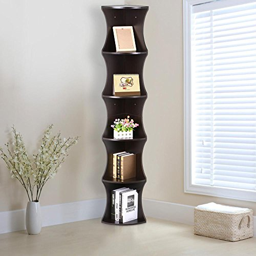 Go2buy 5 Tier Wood Round Wall Corner Shelf Slim Bookshelf/Bookcase Tall Display Rack ( Brown )