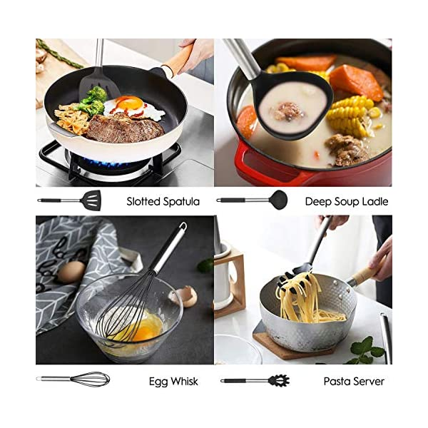Mibote 15 Pcs Silicone Kitchen Utensils Set, Cooking Utensils Set with Heat Resistant BPA-Free Silicone and Stainless… 5