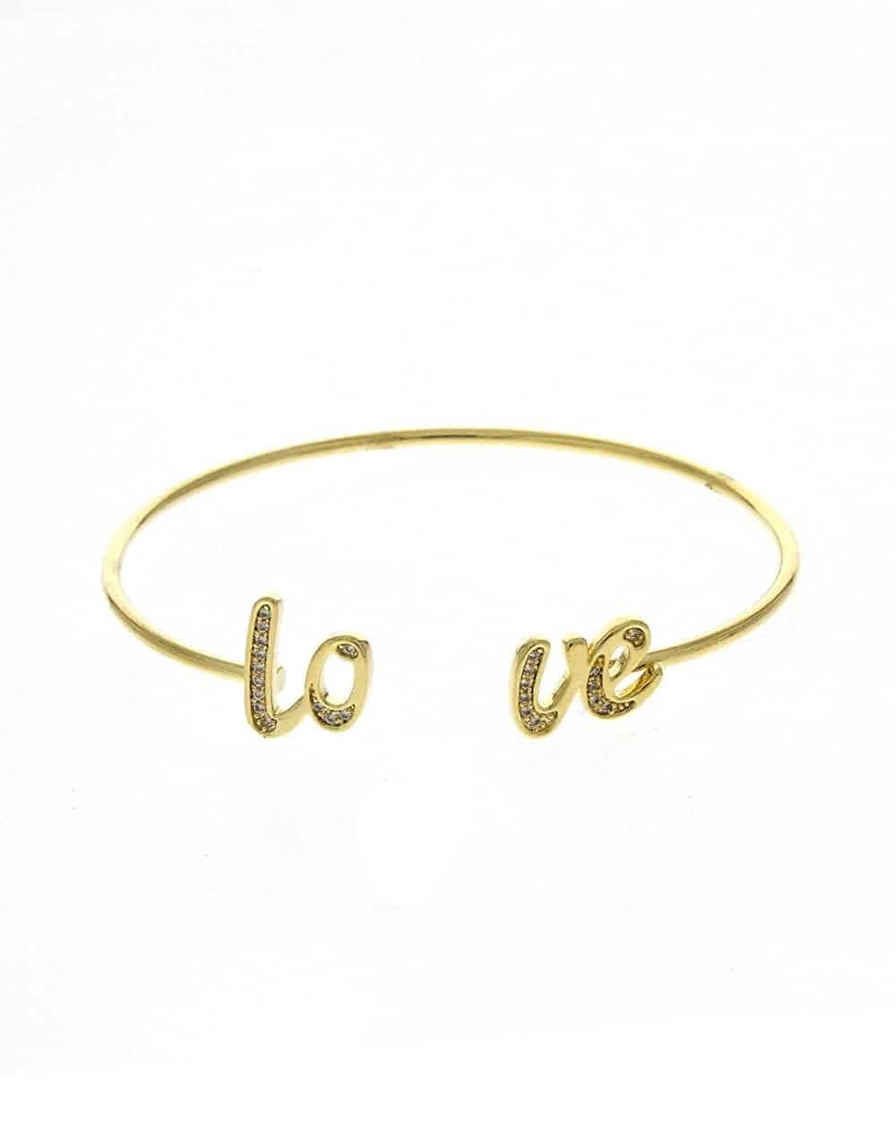 Anuradha Art Golden Finish Love Inspired Very Classy Adjustable Kada//Hand Bracelet for Women//Girls