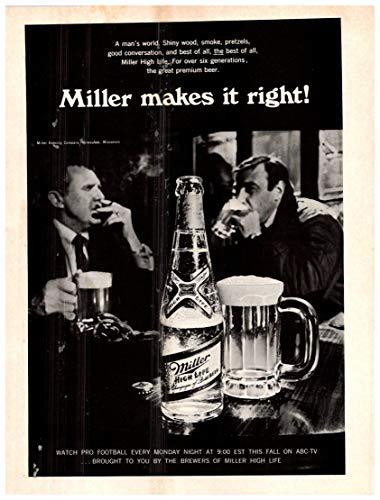 "Vintage Miller High Life Beer Magazine Ad-"" Miller makes it right!"