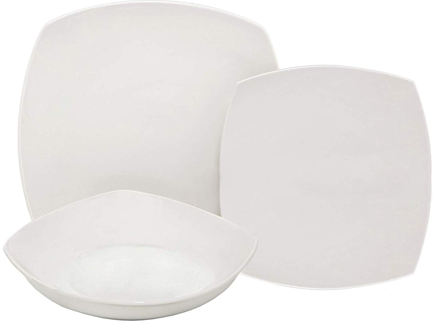 Melange 18-Piece Square Porcelain Dinnerware Set (White) | Service for 6 | Microwave, Dishwasher & Oven Safe | Dinner Plate, Salad Plate, Soup Bowl (6 Each)