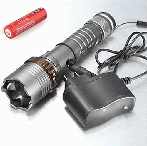 Diy Pill Costume (1Pc Ideal Popular 5 Mode LED Flashlight 2000Lm Police Torch Aluminum Alloy Zoomable Focus Color Gray with Battery Charger)
