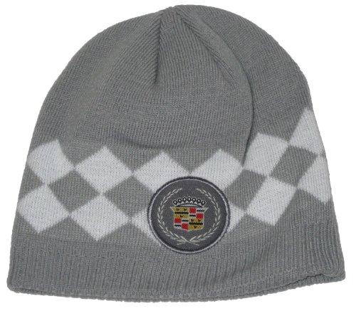 Cadillac Argyle Style Knit Beanie Hat (Grey)