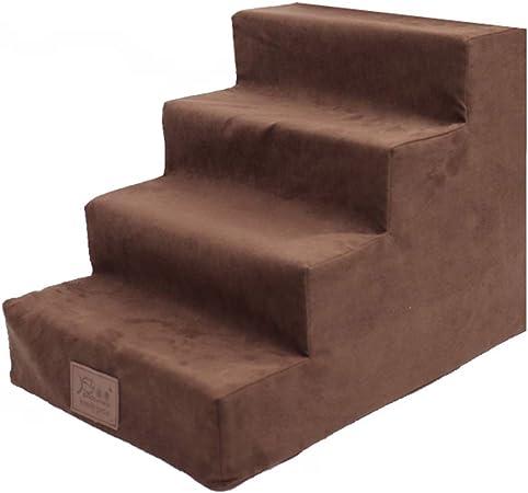 JJJJD Escaleras para Mascotas para Cama Alta de 4 escalones, tapadera Lavable, Taburete para Gatos, para el sofá Cama, Escalera para Actividades, marrón: Amazon.es: Hogar