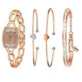 Xinge Women's Rose Gold-Tone Square Analog Quartz Bangle Watch and Bracelet Set XG592R/225458