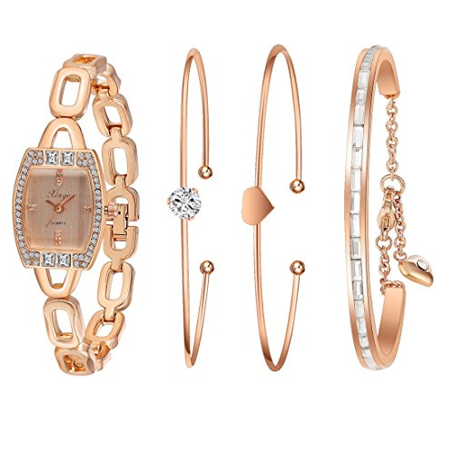Analog Set Bracelet - Xinge Women's Rose Gold-Tone Square Analog Quartz Bangle Watch and Bracelet Set XG592R/225458