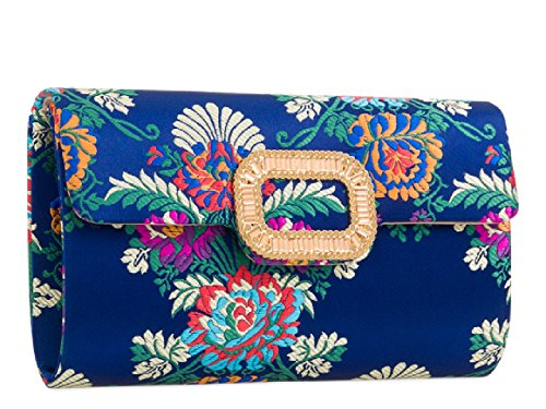 Designer Evening Bag Black Floral Women's Flower Ladies Handbag Satin Clutch KZ2158 dwFq07n