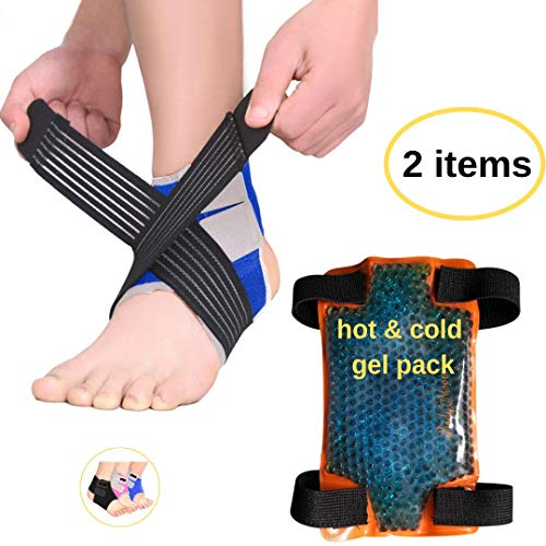 BodyMoves Kid's Ankle Brace Support Plus Hot and Cold Ice Pack (Active Blue, MED for Big Kids (US 3.5-7))