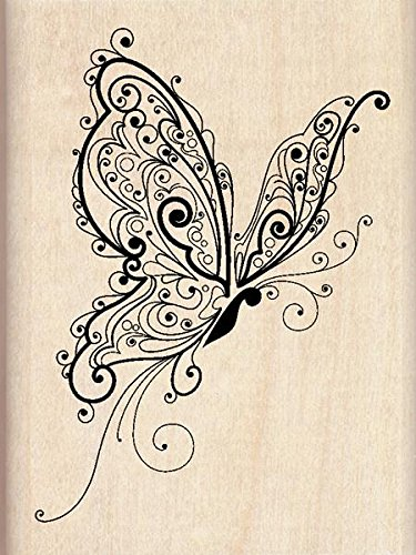 Amazon Inkadinkado Patterned Butterfly Wood Stamp For