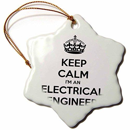 3dRose ORN_193548_1 Keep Calm Im an Electrical Engineer. Snowflake Ornament, Porcelain, 3-Inch