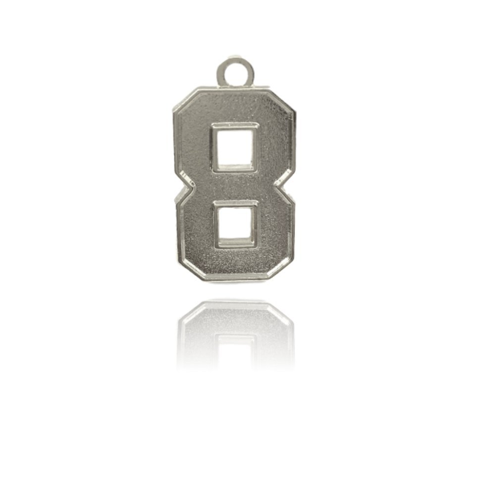 Number 8 Jersey Style Sports Necklace Charm Pendant (0.8'' Tall - Standard Size) SILVER PLATED Perfect For: Football, Baseball, Basketball, Soccer, Hockey, Softball, Volleyball, Lacrosse & More
